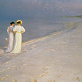 Summer Evening On The Skagen Southern Beach With Anna Ancher And Marie Kroyer by Peder Severin Kroyer