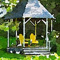 Summer Gazebo With Yellow Chairs by Modern Art