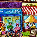 Summer In Montreal Laurier Street Shops Urban City Paintings Canadian Art Carole Spandau by Carole Spandau