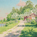 Summer Landscape With House by Johan Krouthen