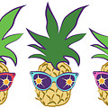 Summer Pineapples Wearing Retro Sunglasses by MM Anderson