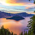Sunset At Crater Lake, Oregon by Tirza Roring