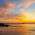 Summer Sunset Over Ipswich Bay by Harriet Harding