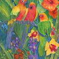 Sun Conure Parrots by June Hunt