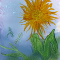 Sun Flower And Dragonflies  At Dusk by Debora Boudreau