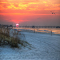 Sun Over Sea N Suds And Pier Large by Michael Thomas
