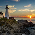 Sun Rising At Portland Head Light by Jerry Fornarotto