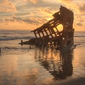 Sun Setting Behind Peter Iredale 0089 by Kristina Rinell
