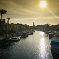 Sun Setting Over Canals Of Naples In Long Beach, Ca by Bradley Hebdon