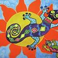 Sunbathing Lizards by Ellen Levinson