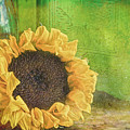 Sunflower And Green Glass by Bellesouth Studio