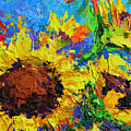 Sunflower Bunch, Modern Impressionistic Floral Still Life Palette Knife Work by Patricia Awapara