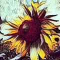Sunflower In Deep Tones by Debra and Dave Vanderlaan