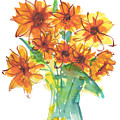 Sunflower Medley II Watercolor Painting By Kmcelwaine by Kathleen McElwaine