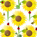 Sunflowers And Bees by Kathleen Sartoris