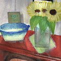 Sunflowers And Blue Bowls by Regina Combs