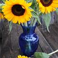 Sunflowers And Blue Vase - Still Life by Dora Sofia Caputo Photographic Design and Fine Art