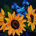 Sunflowers And Delphinium by Alison Vernon