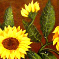 Sunflowers And Dewdrops by Barbara Griffin