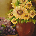 Sunflowers And Grapes by Carol Sweetwood