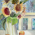 Sunflowers And Peaches by Katherine  Berlin