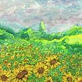 Sunflowers At Lop Burri by Richard Wynne