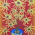 Sunflowers In A Blue Vase by Marie Schwarzer