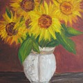 Sunflowers In A Clay Pot by Sally Jones