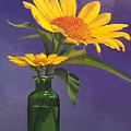 Sunflowers In A Green Bottle by Jessica Anne Thomas