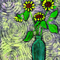 Sunflowers In A Green Vase by Wayne Potrafka