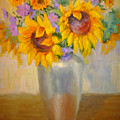 Sunflowers In A Silver Vase by Bunny Oliver