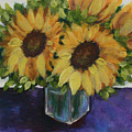 Sunflowers In A Square Vase by Donna Tucker