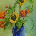 Sunflowers In Blue          Copyrighted by Kathleen Hoekstra