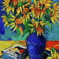 Sunflowers In Blue Vase by Mona Edulesco