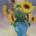 Sunflowers In Blue Vase by Suzanne Cerny