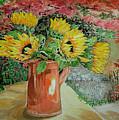 Sunflowers In Copper by Yvonne Johnstone
