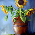 Sunflowers In Vase by Dominica Alcantara