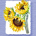 Sunflowers On Baby Blue by Irina Sztukowski