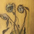 Sunflowers On Gold by Michela Akers