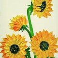 Sunflowers Using Palette Knife by Jessica T Hamilton