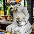 Sunglass Wearing Smoking Statue On Campuhan Ridge Walk In Ubud, Bali by Global Light Photography - Nicole Leffer