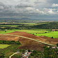 Sunlit Farms And Fields Below Arcos De La Frontera Andalusia Spa by Reimar Gaertner