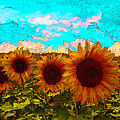 Sunny Faces- Sunflower Art by Kathy  Symonds