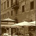 Sunny Italian Cafe - Sepia by Carol Groenen