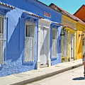 Sunny Street With Colored Houses - Cartagena-colombia by Riccardo Forte