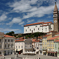 Sunny Tartini Square In Piran Slovenia With Government Building, by Reimar Gaertner