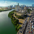 Sunrays Paint The Austin Skyline As Rush Hour Traffic Picks Up On I-35 by Austin Bat Tours