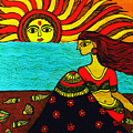 Sunrise At Beach Madhubani Painting by Shishu Suman