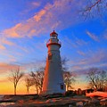 Sunrise At Marblehead Lighthouse Panorama by Dan Sproul