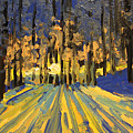 Sunrise Forest Modern Impressionist Landscape Painting  by Patricia Awapara